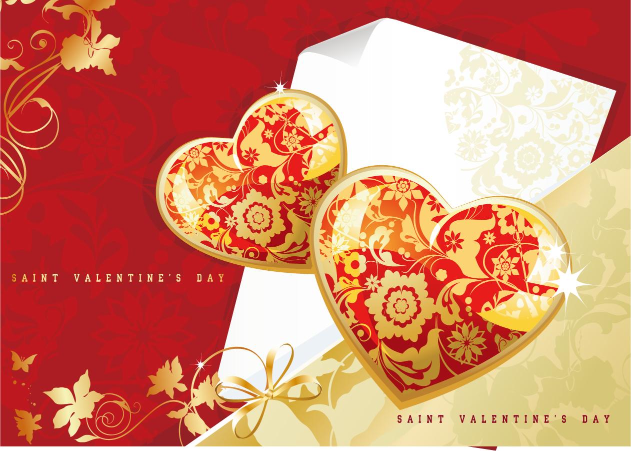 ロマンチックなハート飾りの背景 romantic heartshaped tread pattern イラスト素材4