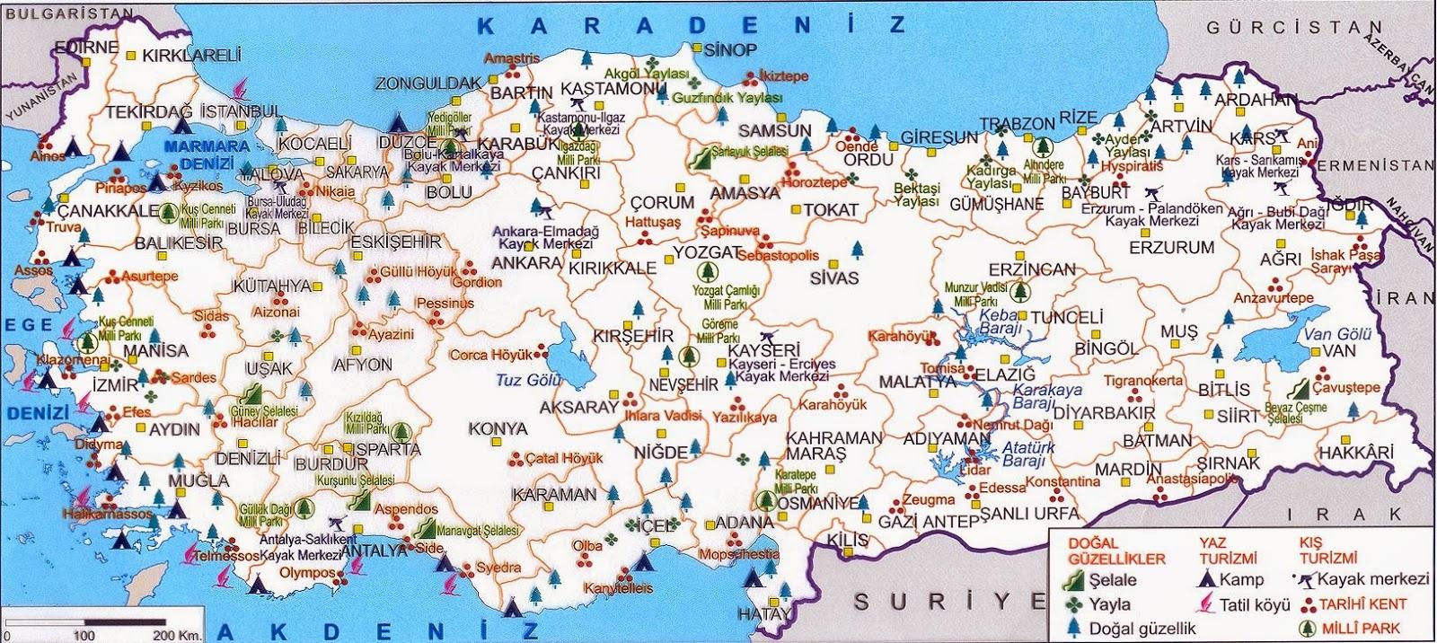 Türkiye Doğal Güzellikler ve Milli Parklar Haritası