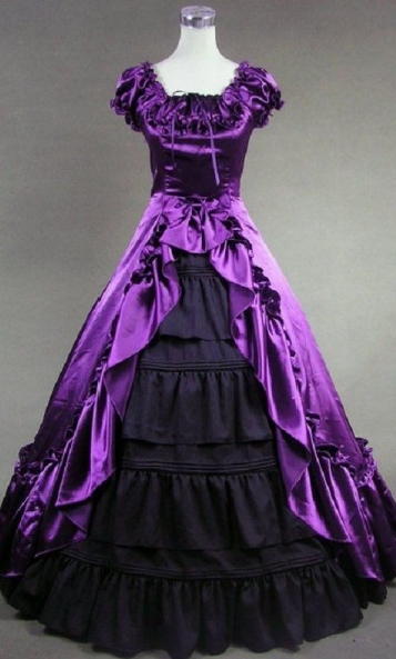 Purple and Black Puff Sleeves Gothic Victorian Dress