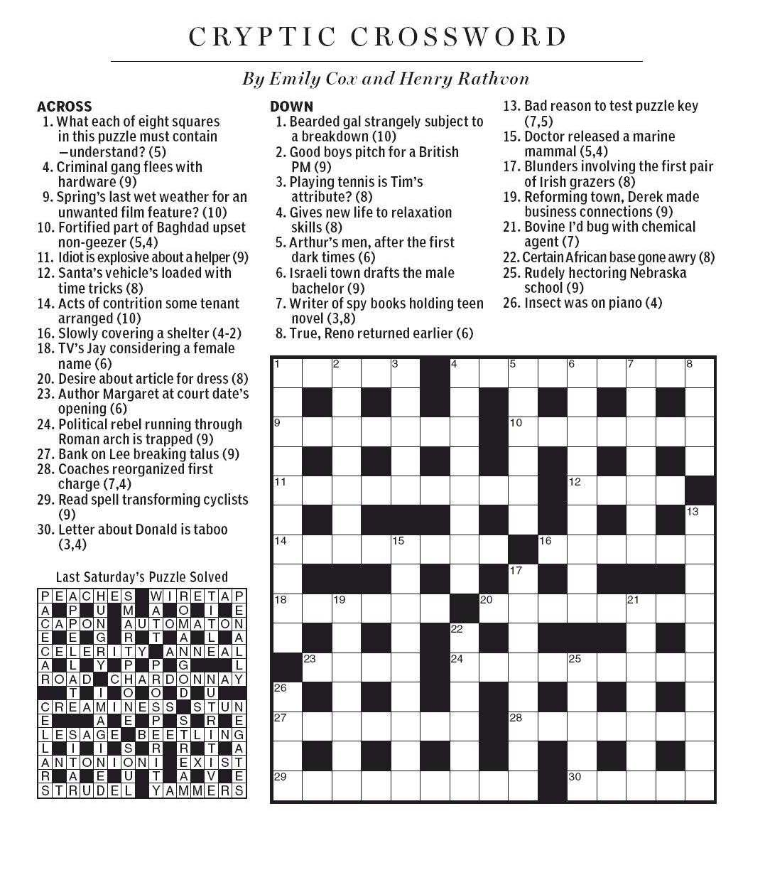 National post cryptic crossword forum saturday december 8 2012 introduction spiritdancerdesigns Images
