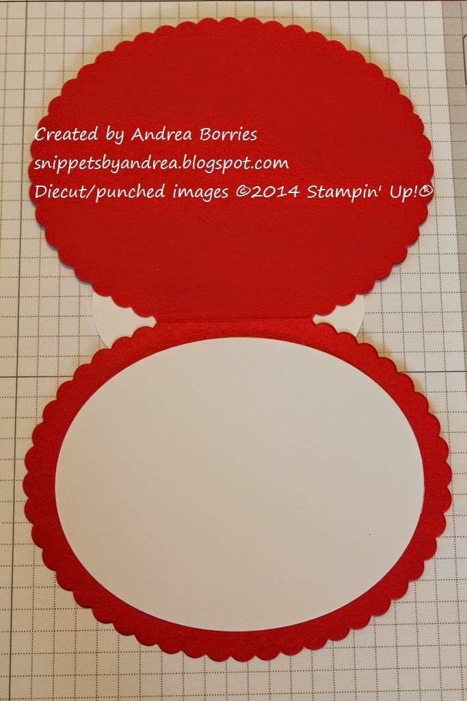 Inside the card is a plain white oval to write or stamp your greeting.