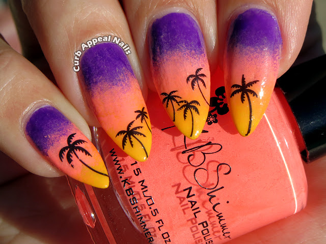 Sunset Gradient with Palm Tree Water Decals