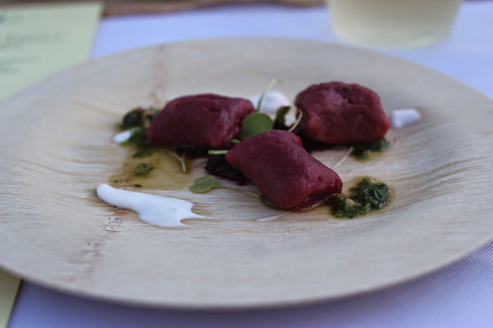 Beet gnocchi at Dinner in the Field at Volante Farms, Needham, Mass.
