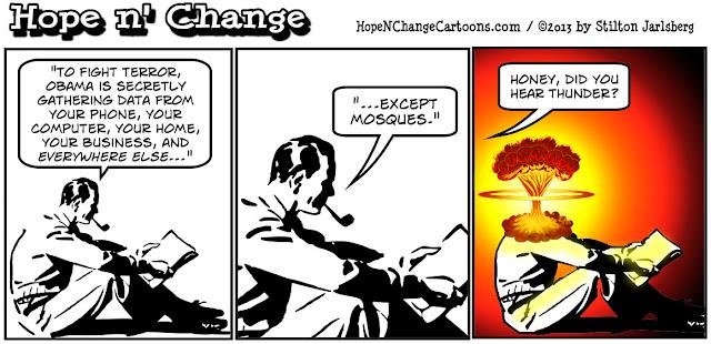 obama, obama jokes, nsa, prism, muslims, mosques, terror, spying, hope n' change, hopenchange, stilton jarlsberg, conservative, tea party, newspaper