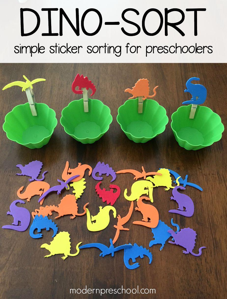 dinosaur theme preschool activities dinosaur sticker sorting for preschoolers 570