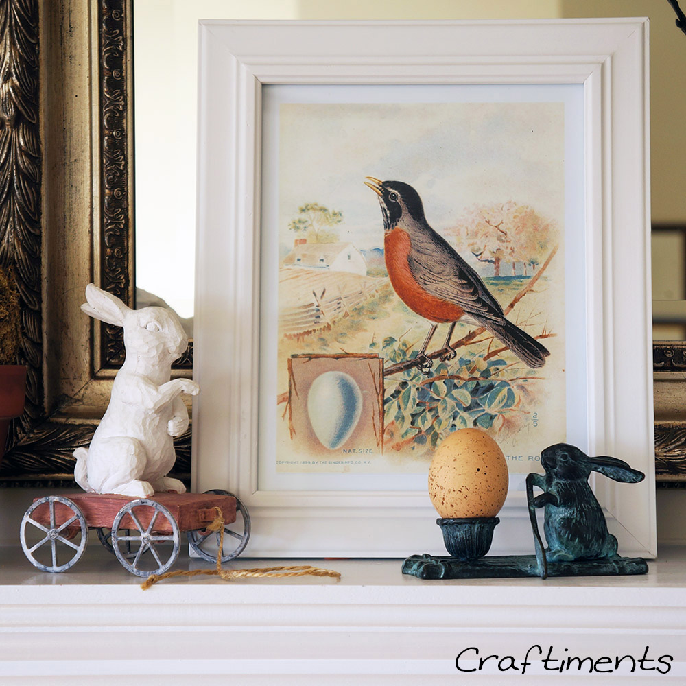 Craftiments:  Framed vintage Robin print and two rabbit figurines