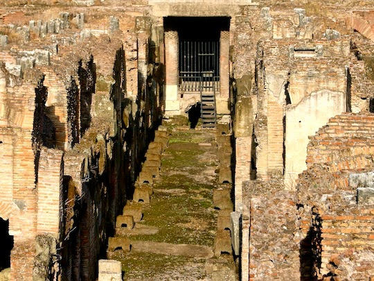 Underground tunnels in the Colosseum