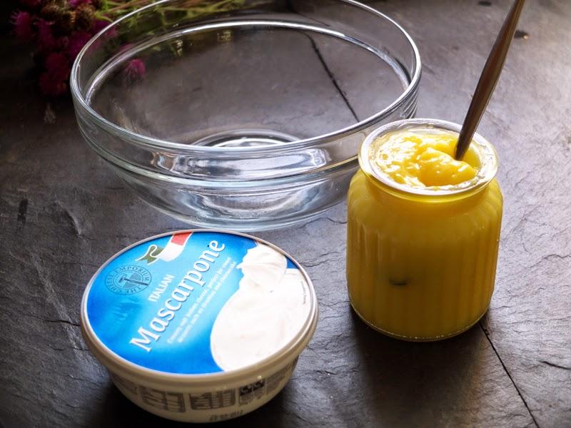 Mascarpone, lemon curd and a glass bowl.