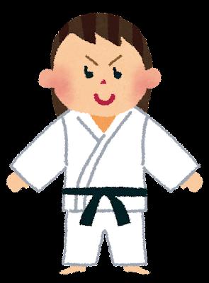 道着を着た女の子のイラスト(柔道・空手)