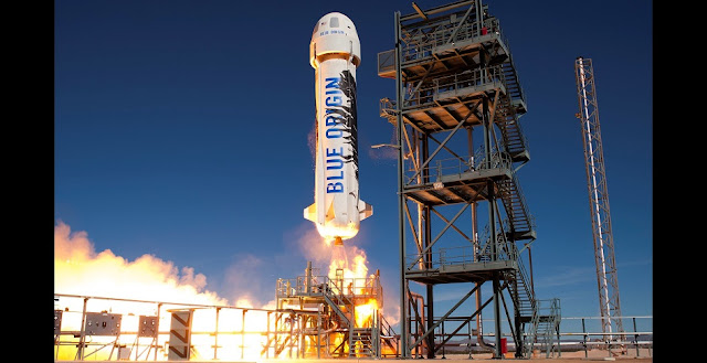 The same New Shepard booster that flew to space and then landed vertically in November 2015 has now flown and landed again. Credit: Blue Origin