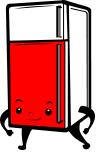 Dessin de frigo avec porte colorée en rouge