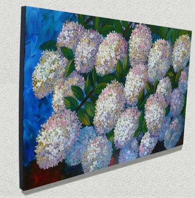 Hydrangeas Floral Artwork showing side edges painted black
