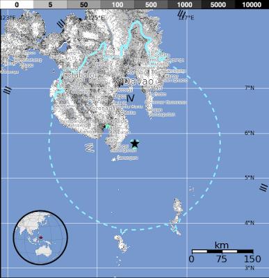 Epicentro sismo de magnitud 6,2 que sacudió la isla Mindanao en el sur de las Filipinas, el 16 de Febrero de 2013