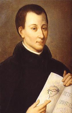 San Claudio de la Colombiere señala al Sagrado Corazón dibujado en el Retrato Espiritual.