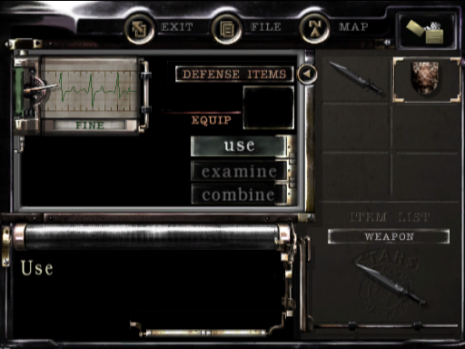Resident Evil Remake Game Cube inventory screen Chris