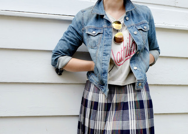 baseball cap, denim, casual, street style, denim, plaid skirt, vintage, oasap, blonde pixie cut