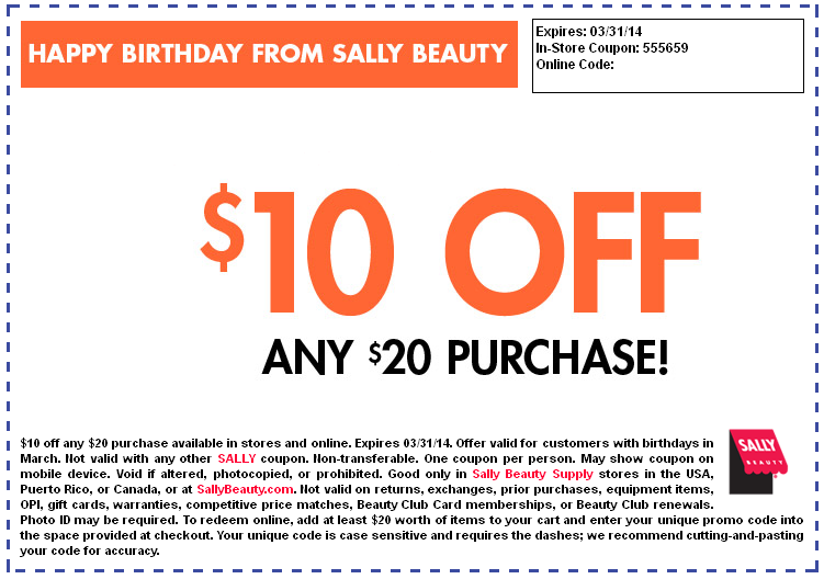 Sally's March Coupon