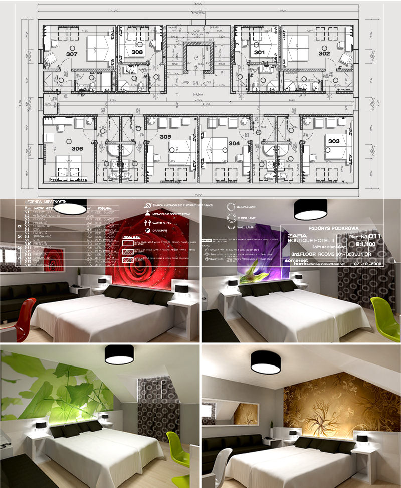 Zara Boutique Hotel Standard Rooms.Distribution plan. Design by Somerset Harris