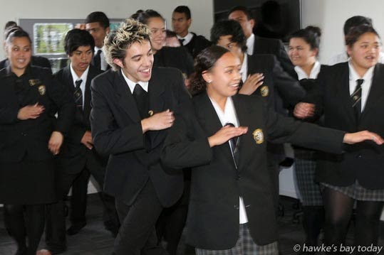 Front L-R: Kauri Sellwood, O'Shaarn Wainohu - Entertainment by the school's kapa haka group at the official opening of Te Tipu Whenua o Pa Harakeke, a Teen Parent Unit and Early Childhood Centre at Flaxmere College, Flaxmere, Hastings photograph