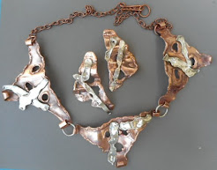 Sterling and Copper Necklace and Earrings