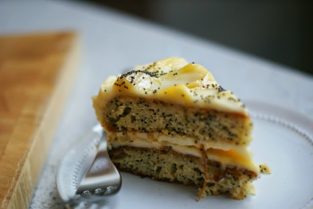 lemon and poppy seed cake with lemon buttercream and lemon curd swirls