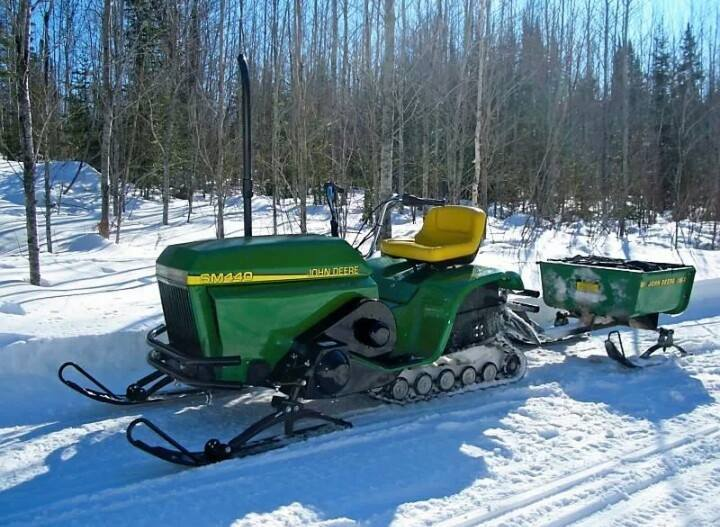 John Deere Gator Plow >> Just A Car Guy: Crazy cool John Deere riding mower snow mobile... it all started with a rider ...