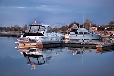 cabin cruisers in the early dawn at the Port of Orillia