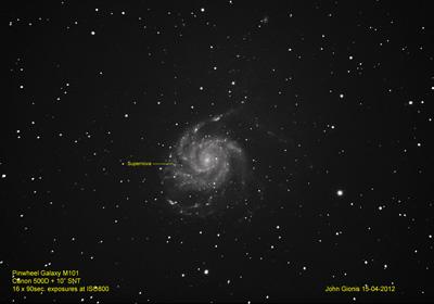 The Pinwheel Galaxy - M101.  April 15, 2012