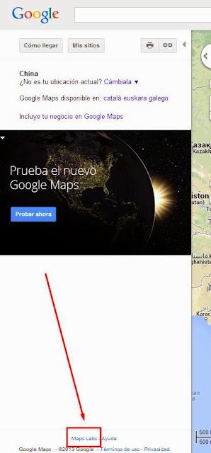 Maps Labs acceder desde Versión Clásica de Google Maps