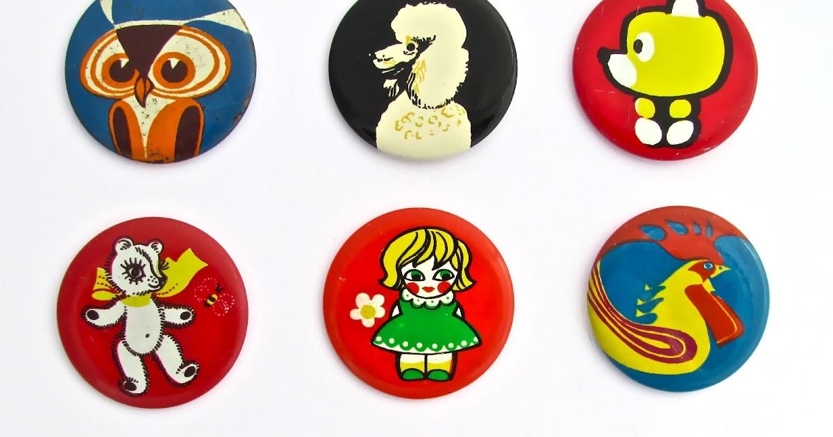 Bird Art Tin Badges 4x Vintage Lapel Pins 1970s Soviet Estonian Factory Norma