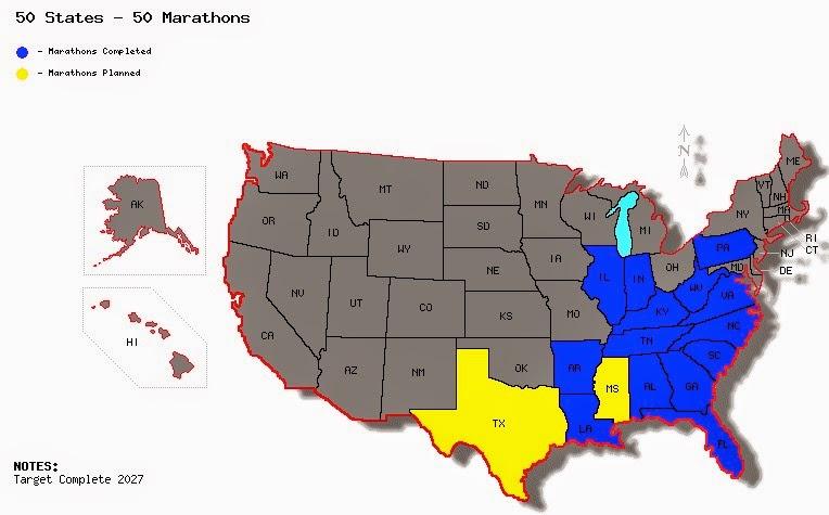50 States - 50 Marathons (as of May 1, 2015)