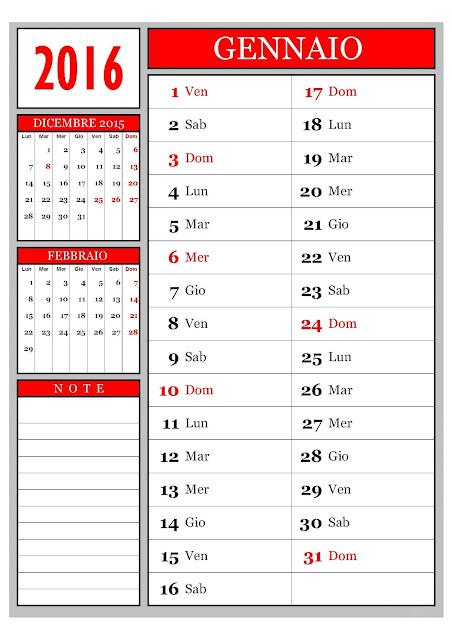 calendario 2016 - mensile - annuale- santi