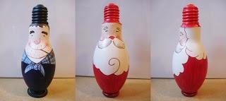 Papa Noel con Bombillas Recicladas, Decoracion Ecoresponsable de Navidad