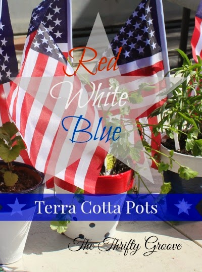Red, White & Blue Terra Cotta Pots