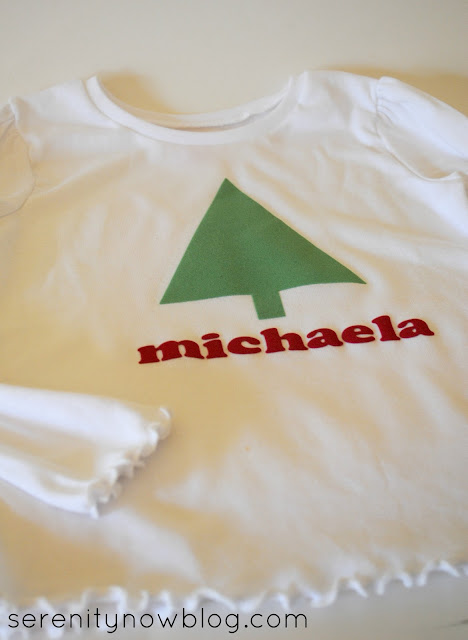 Making an Embellished Christmas Shirt with Silhouette Heat Transfer, from Serenity Now