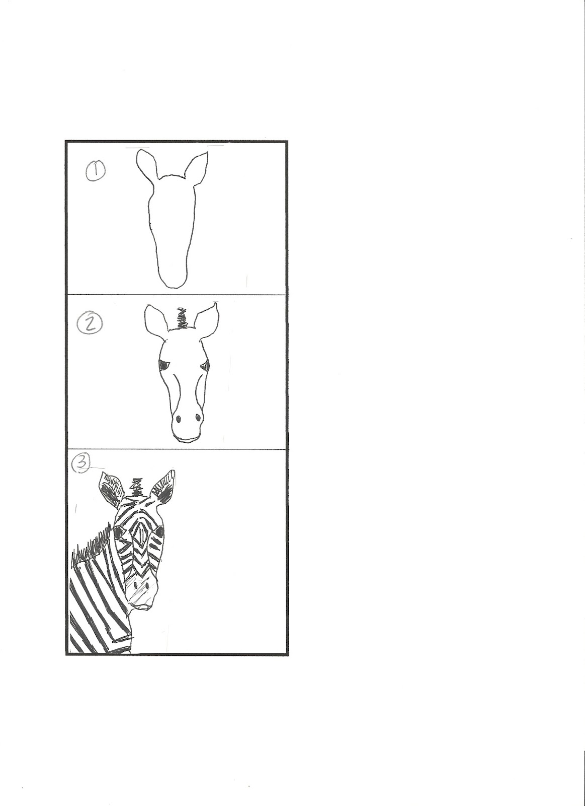 How To Draw A Zebra Head Step By Step For Kids