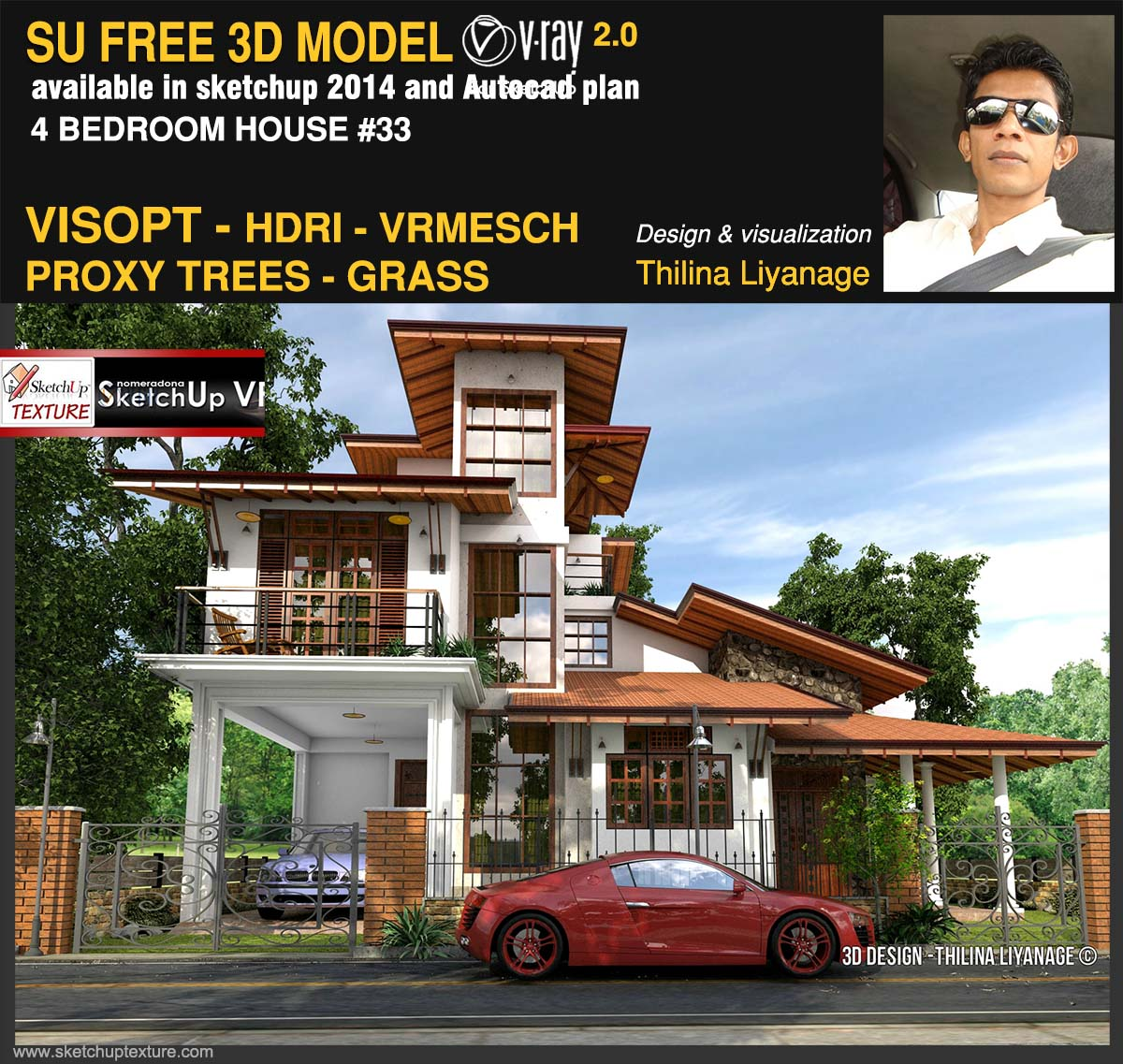 33#sketchup 3d model 4 bedroom house  vray 2.0 render by Thilina Liyanage