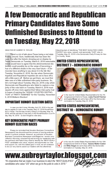 PAGE 3 - HOUSTON BUSINESS CONNECTIONS NEWSPAPER© RUNOFF ELECTION - PART 1 of 3