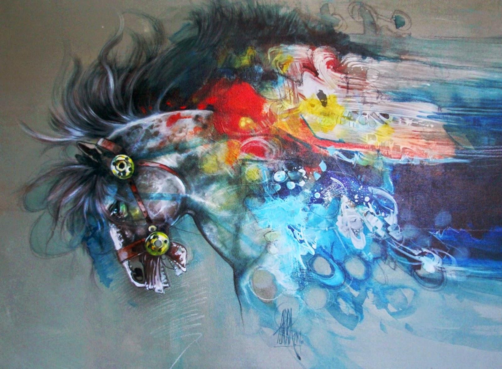 Pintura moderna y fotograf a art stica caballos for Fotos de cuadros abstractos al oleo