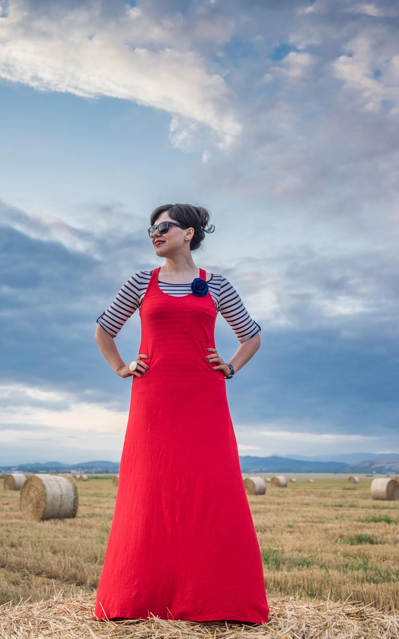 maxi red dress striped top stripes pimkie black flats cardigan hay bales photo shooting  black maxi bag brasov trip mountains