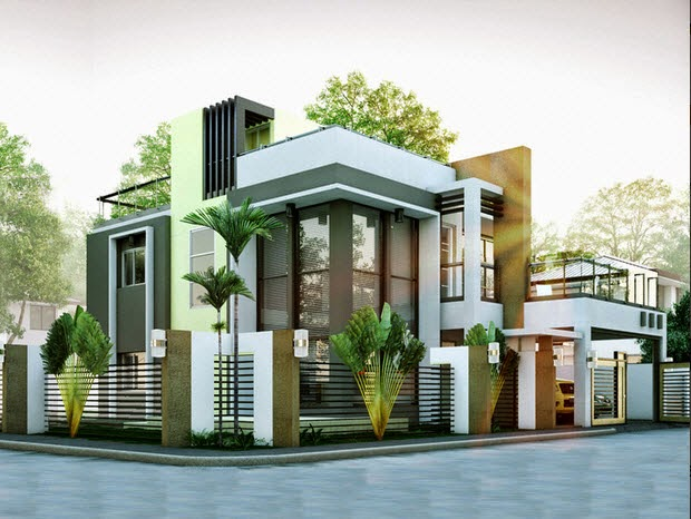 Modern duplex house designs elvations plans for Minimalist box house design