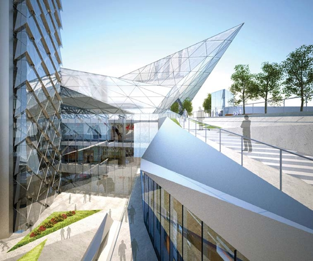 Rendering of one of the sky bridges of Dancing Dragons by Adrian Smith + Gordon Gill Architecture