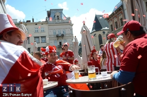 Soccer fans from Denmark in Lviv for the Euro 2012 Tournament