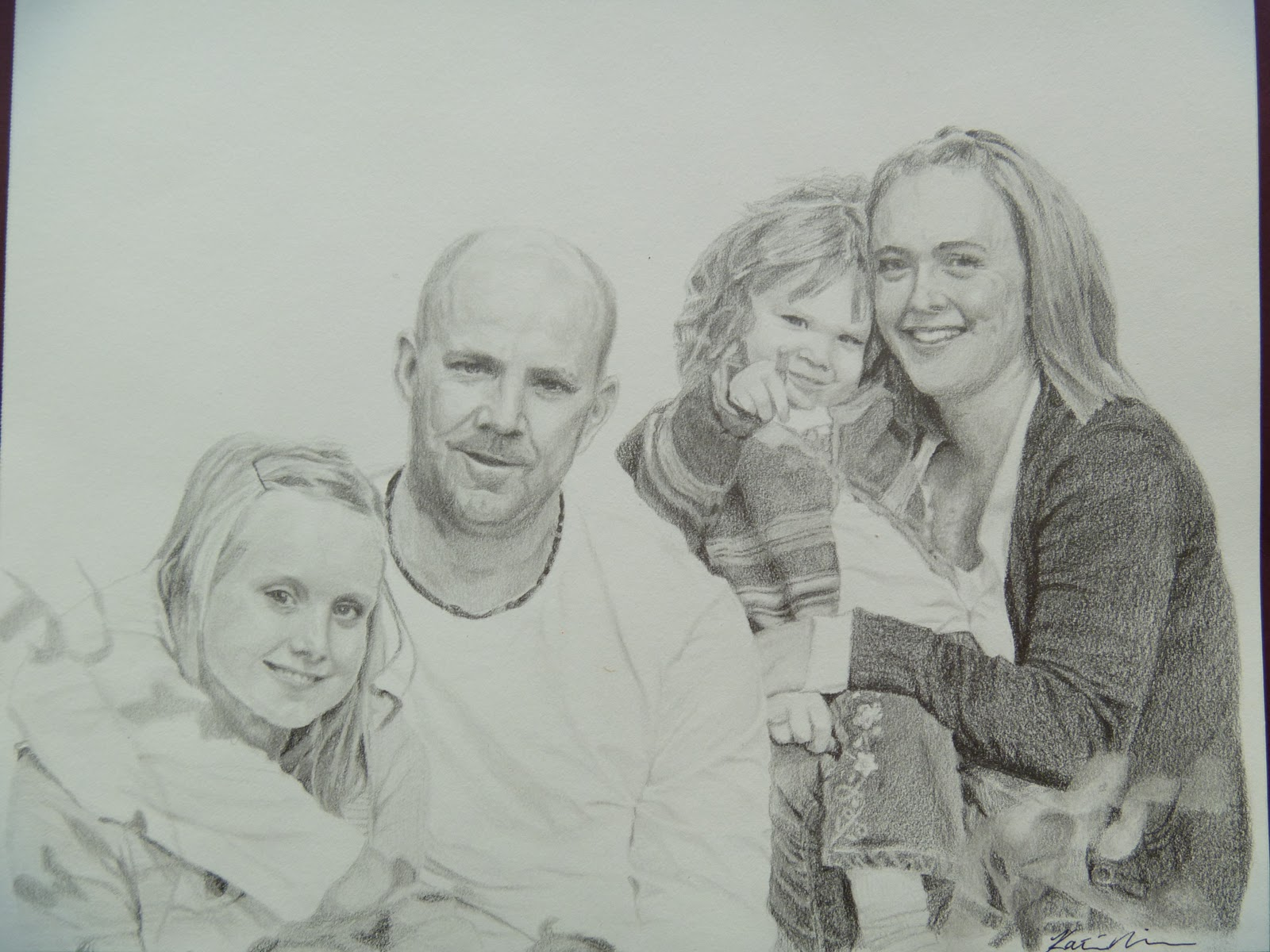 art by katie nielsen pencil drawing family portrait
