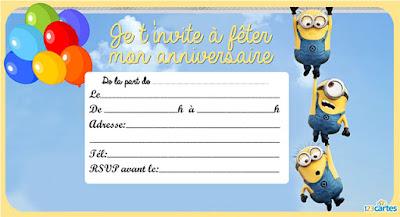 carte d'invitation anniversaire Les Minions avec ballon