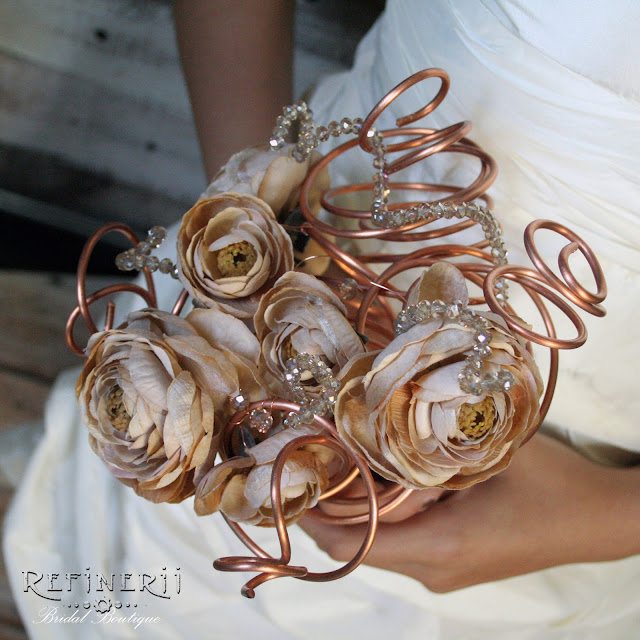 Steampunk copper wedding bouquet with silk flowers & crystals
