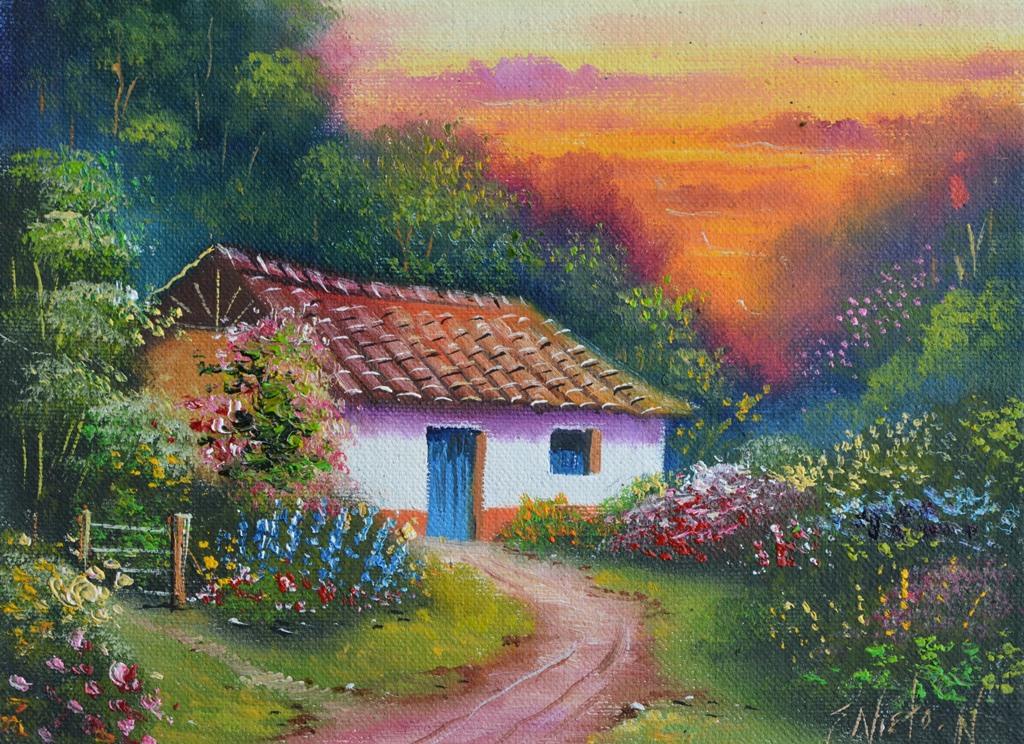Im genes arte pinturas paisajes fincas de pueblos - Paisajes de casas ...