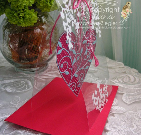 acetate card side view with hanging heart for valentines