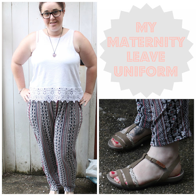 girl wearing patterned trousers and lace detail white vest top with title my maternity leave uniform