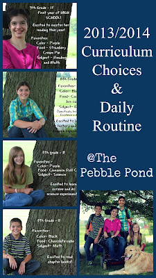 http://www.thepebblepond.com/2013/08/20132014-curriculum-choices-our-routine.html